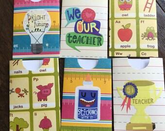 Set of 6 Teacher Back to School Gift Card Holders Handmade Ruler Paper Apple Scrapbook Envelope