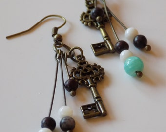 Key and Turquoise Stone Earrings