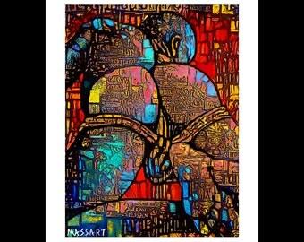 Art print digital gay Creation - Male art - male nude - No. 57 - 24 x 32 cm on A3