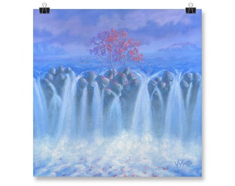"Nature Painting, Fine Art, Waterfall, Poster Print, Waterscape, 10x10"", 12x12"", 14x14"", 16x16"", 18x18"""