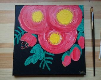 Eudora, 12 x 12 Abstract Floral Original Painting