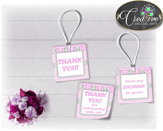 baby shower thank you favor tags square printable with gray and