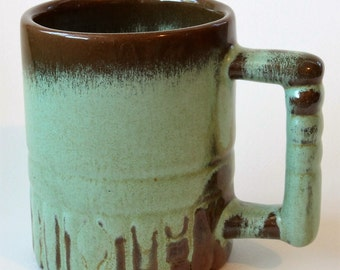 Frankoma Pottery Aztec Coffee Mug Cup C4 Woodland Moss Blue, 1950s Vintage