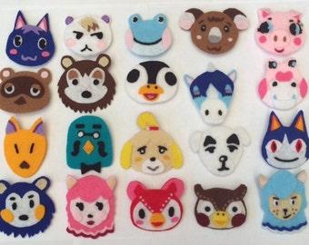 Animal Crossing Felt Pin Badges
