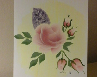 rose and lilac card, hand painted/ hand made/ flowers/ floral