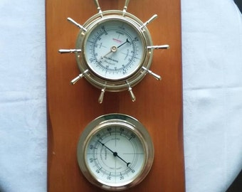 Sunbeam Nautical Wooden Weatger Station Barometer and Thermometer Vintage