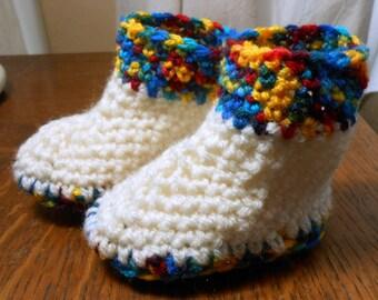 Crochet multicolor baby boots