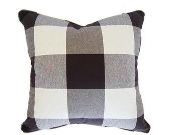 Black and White Buffalo Check Pillow Cover - Made-to-Order