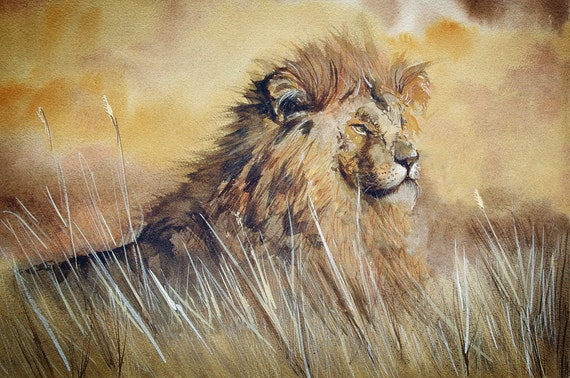 Lion Wall Art Print from an original watercolour painting by Corinne Dany / Animal Print / Kids / Africa / Lion / Leo / Gift / Art Print