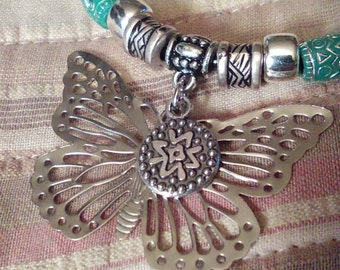Butterfly pendant beaded necklace