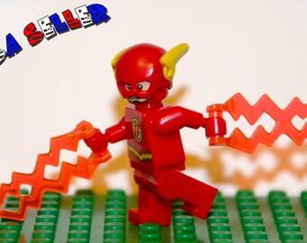 The Flash Custom minifigure (Lego Compatible) DC Comic Justice League of America JLA Superhero Barry Allen The Fastest Man Alive Christmas 1
