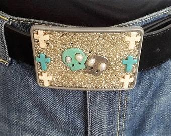 Boucle de ceinture double skull turquoise, rock, festival, boho, bohème chic