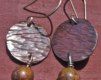 Brown copper earrings