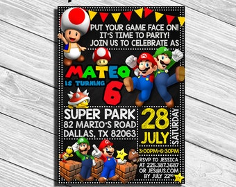Super Mario Birthday Party Invitation * Personalized Digital Printable File