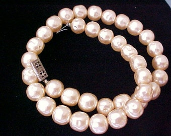Miriam Haskell style Choker Necklace Baroque Champagne Pearl  vintage sterling bridal