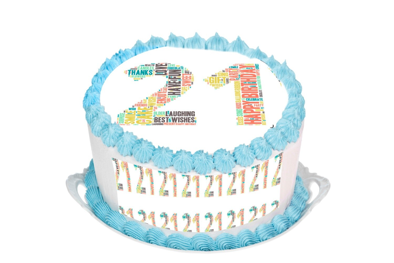21st Birthday Edible 7.5 Inch Round Cake Topper for 8 inch