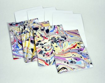4 pack of A7 blank hand marbled cards