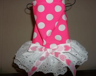 Hot Pink Polka Dot dog dress, size extra small (xs)