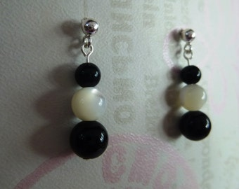 Sterling Silver Black Onyx and Mother of Pearl Drop Earrings E#22