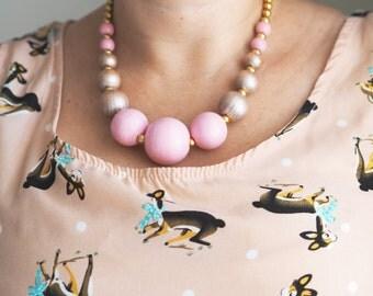 Beautiful Handmade Cherry Blossom Pink Chunky Bead Necklace