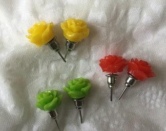 Rose Stud Earrings - 3 Pairs