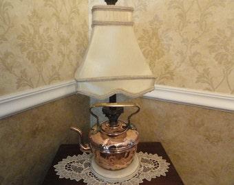 Vintage Copper Teapot Lamp