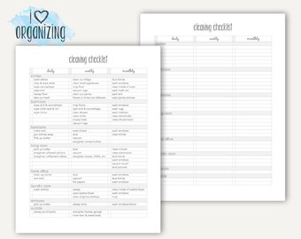 Cleaning Checklist: Home Management Binder, Letter Size Printable, Organization, Instant Printable, Cleaning, Chores
