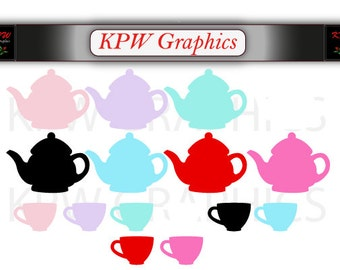 Teapots and Teacups Silhouettes (various colours) in a PNG format. Personal & Small Commercial use (231)