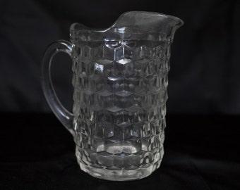 Large Glass Pitcher Vintage Fostoria- American Pattern