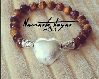 Bracelet Namaste Om heart eye of Tiger-Bracelet Om hearth Namaste