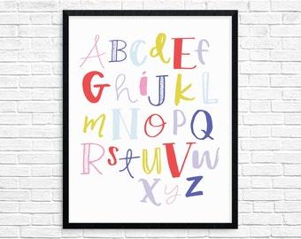 Alphabet Poster, Alphabet Art Print, Colorful Wall Art,  Printable Kids Room Decor, Printable Nursery Art, Printable Alphabet, digital print