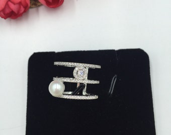 Pearl Ring Brass Material Free Size Ring with Fresh Water Pearl  (R101)