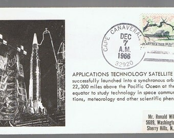 1966 US United States Applications Technology SATELLITE Cape CANAVERAL Cancel Space Cover