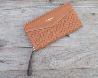 Handcrafted Braided  Leather Wallet Clutch by JPleatherStudio #002