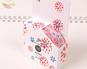 Red Blue Floral washi tape