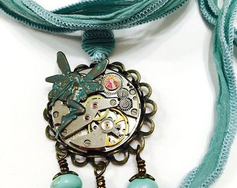 Fairy Faerie Necklace, Steampunk Necklace, Upcycled Watch Movement Necklace