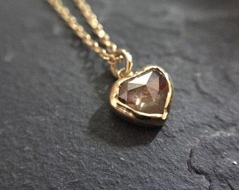 Rose Cut Diamond Heart Necklace