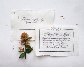 Elegant Fine-Art Ivy Nature Inspired Wedding Invitation and Reply Card