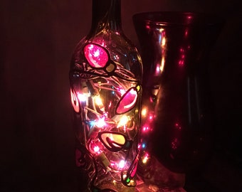 Christmas Lighted Stained Glass Painted Wine Bottle