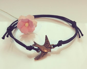 KL. swallow bracelet in black, bird, SCHWALBE, freedom, flying, freedom,.