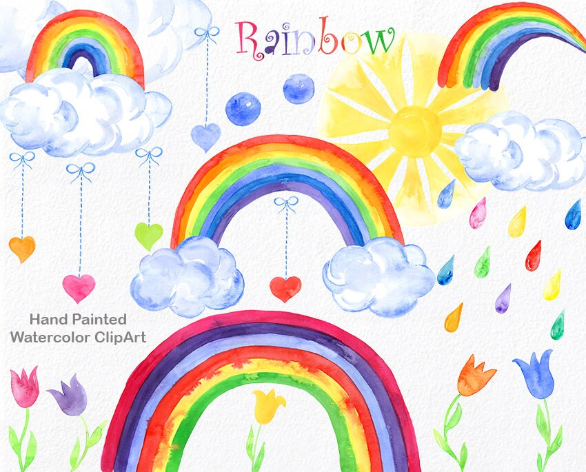 Rainbow Watercolor Clipart Commercial Use Hand Painted