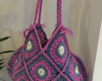 Crochet Bag / crochet purse / floral handbag / hobbo handbag / crochet pink bag
