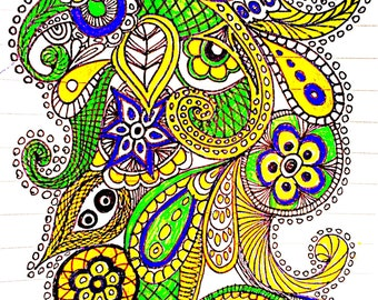 A4 ink drawing of a zentangle garden