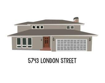 Custom House Portrait Illustration - Housewarming Gift - Home - Custom Art - New Home - Realtor