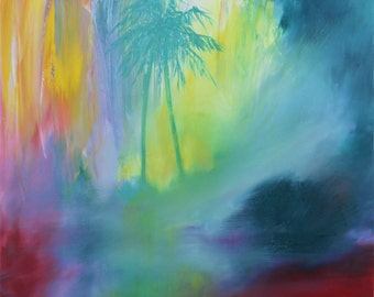 Original Oil Abstract Painting. Tropical Landscape. Haze and Sunlight. Free shipping. Palm tree painting. Turquoise