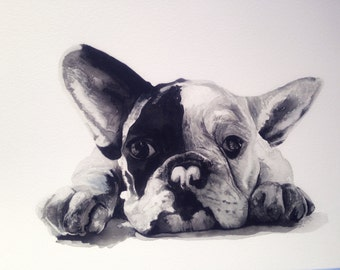 Watercolour French Bulldog Print, Animal Art, Frenchie, Bedroom Art, Nursery Art, Ready to Frame
