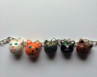 handmade cat charm bracelet, hand painted polymer clay