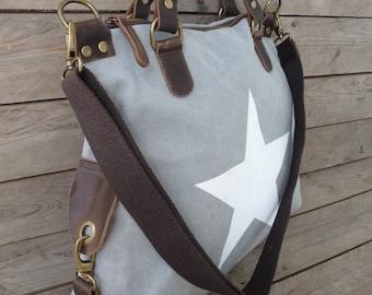 Canvas bag with star print - Italian style