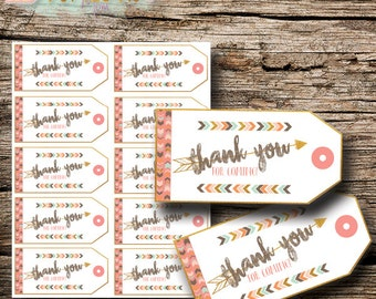 Adventure Girl Baby Shower Thank You Tags | Printable Digital File |