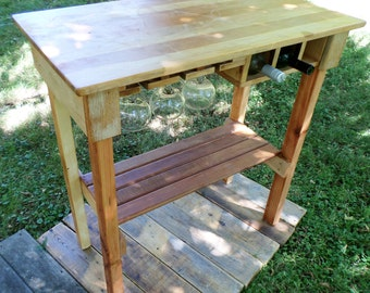 Kitchen Island Chop Block Top With Wine Rack All From Reclaimed Wood.